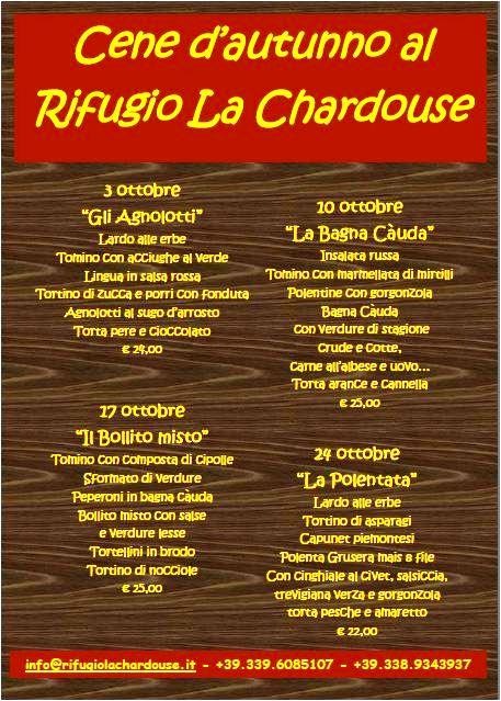Cene d'autunno al Rifugio la Chardouse oulx, Bollito, Bagna cauda.....